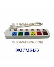Ổ cắm điện LiOA 6 lỗ 3 chấu 6 công tắt 6DOF33WN (Trắng)