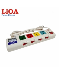 Ổ cắm kéo dài công suất lớn có đồng hồ báo công suất 4 ổ cắm 3 lõi dây LiOA 4OFSSA2.5-3 - 4OFSSA2.5-3