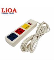 Ổ cắm kéo dài đa năng có cổng sạc USB 5V-1A 3 ổ LiOA màu trắng - 3D32WNUSB