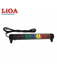 Ổ cắm kéo dài đa năng xoay có cổng sạc USB 5V-1A 6 ổ LiOA màu đen - 6D32N2XUSB