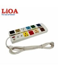 Ổ cắm kéo dài đa năng trung tâm có mạch chống sét đường thông tin 10 ổ LiOA màu trắng - 10OFFICE-3W