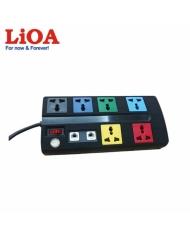 Ổ cắm kéo dài đa năng trung tâm có mạch chống sét đường thông tin 6 ổ LiOA màu đen - 6OFFICE-3